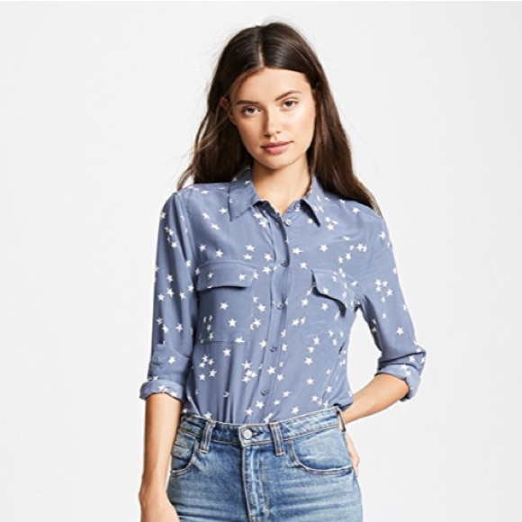 7fa568a76f2837 Equipment Tops - Equipment Slim Signature Silk Blouse stars blue XS